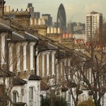 Houses on a hill with the City of London in the background